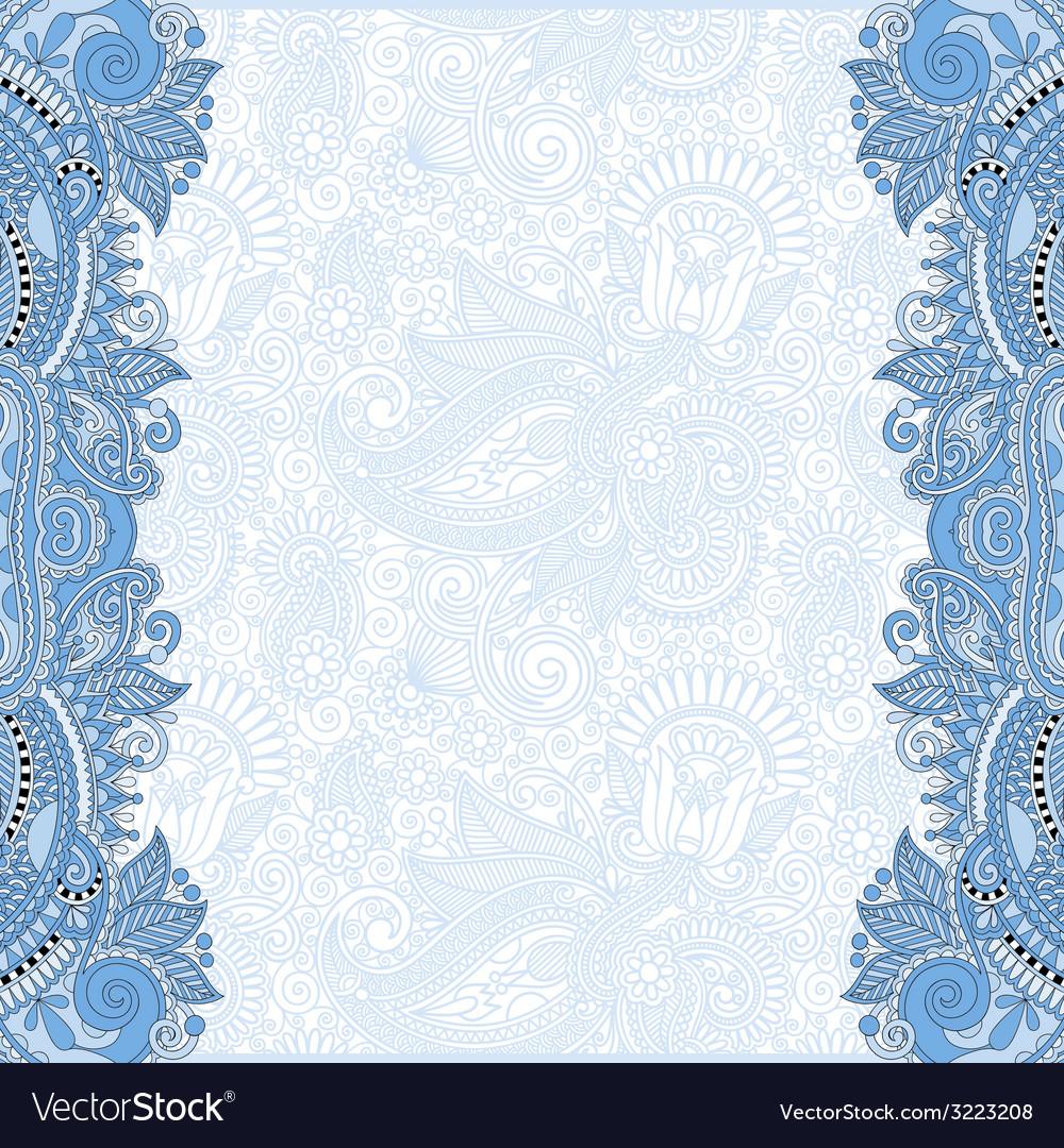 Blue colour unusual floral ornamental template vector