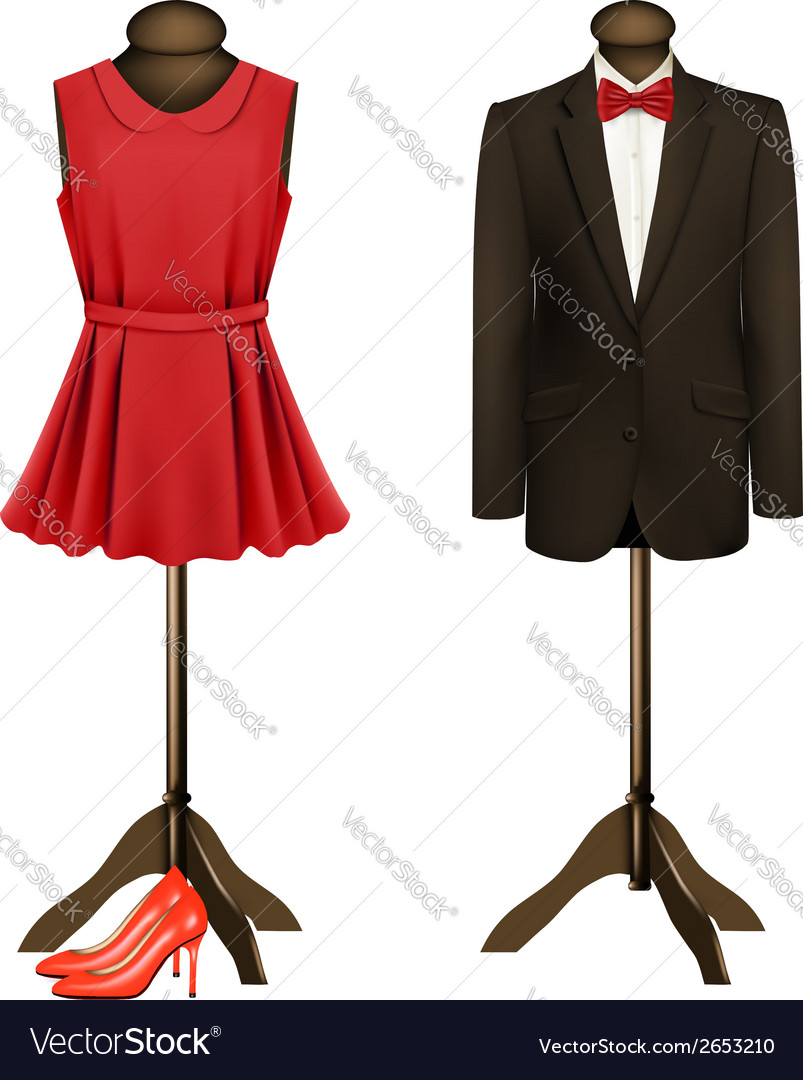 A suit and a formal dress on mannequins with red vector