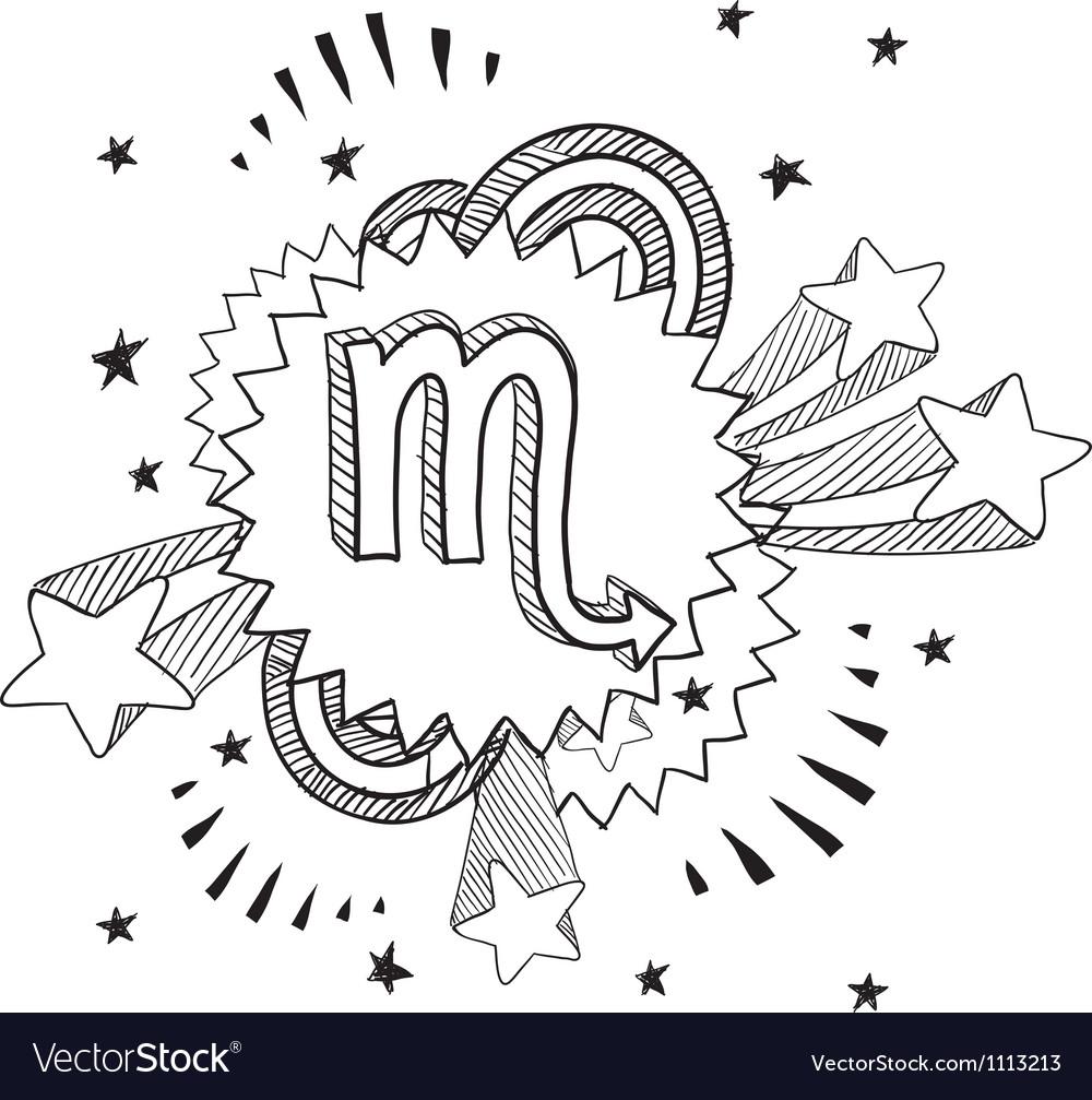 Doodle pop astrology scorpio vector