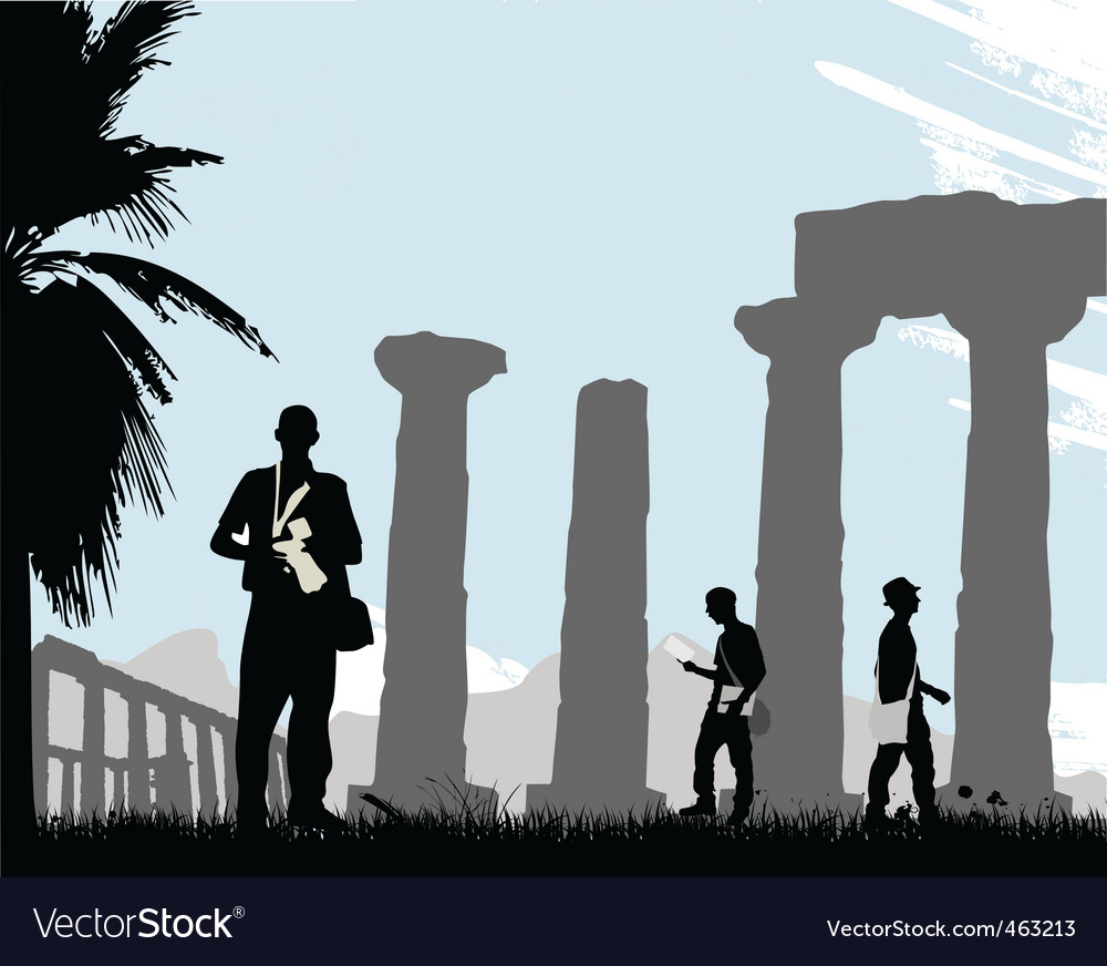 Tourist with historical temple vector