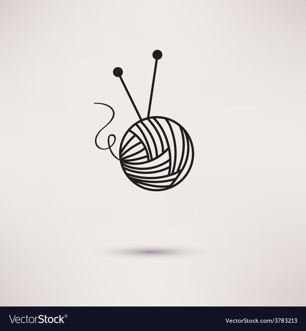 Woolen thread and needles flat design vector