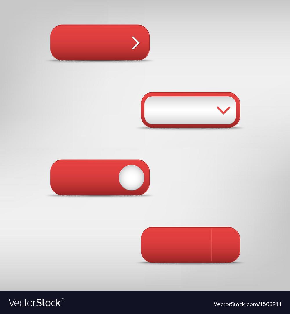 Red empty rectangular buttons vector