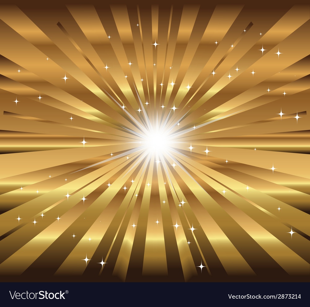Star ray with lens flare golden background vector