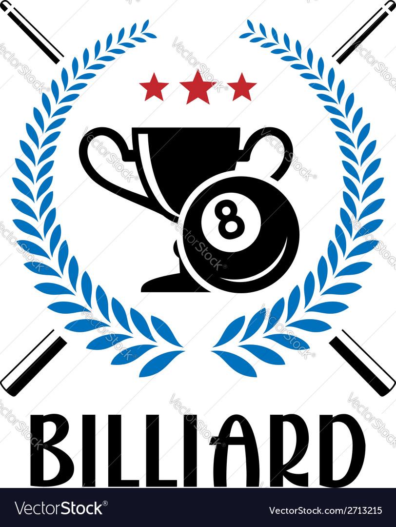 Billiard emblem with laurel wreath vector