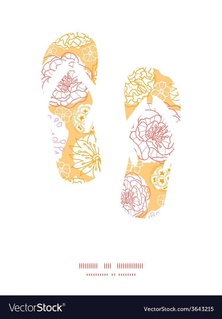 Warm day flowers flip flops silhouettes pattern vector