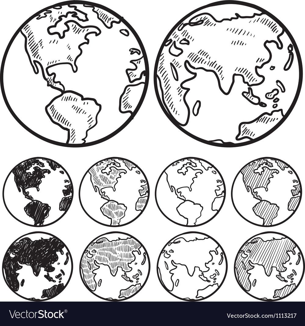 Doodle globe earth vector