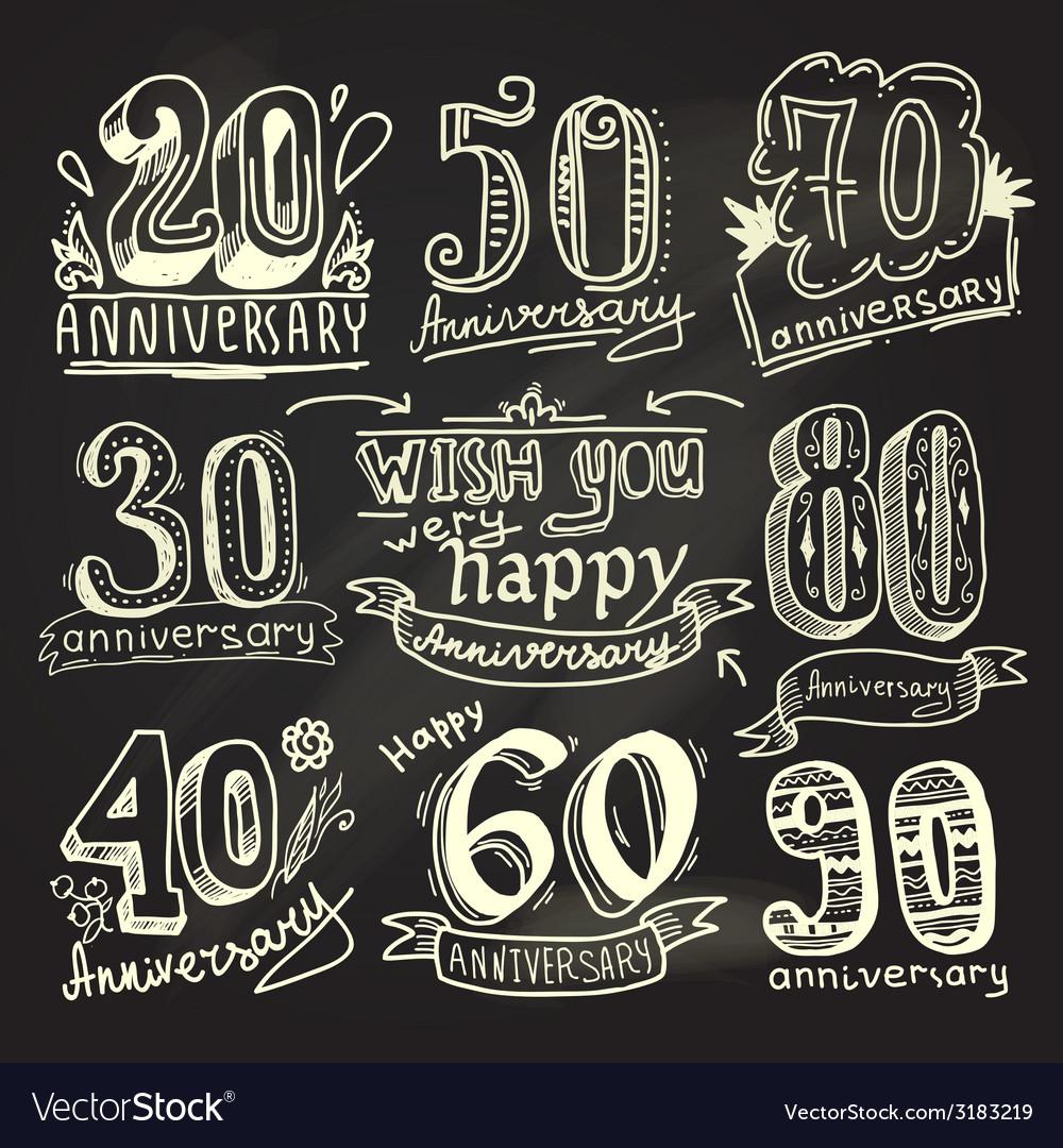 Anniversary signs chalkboard set vector