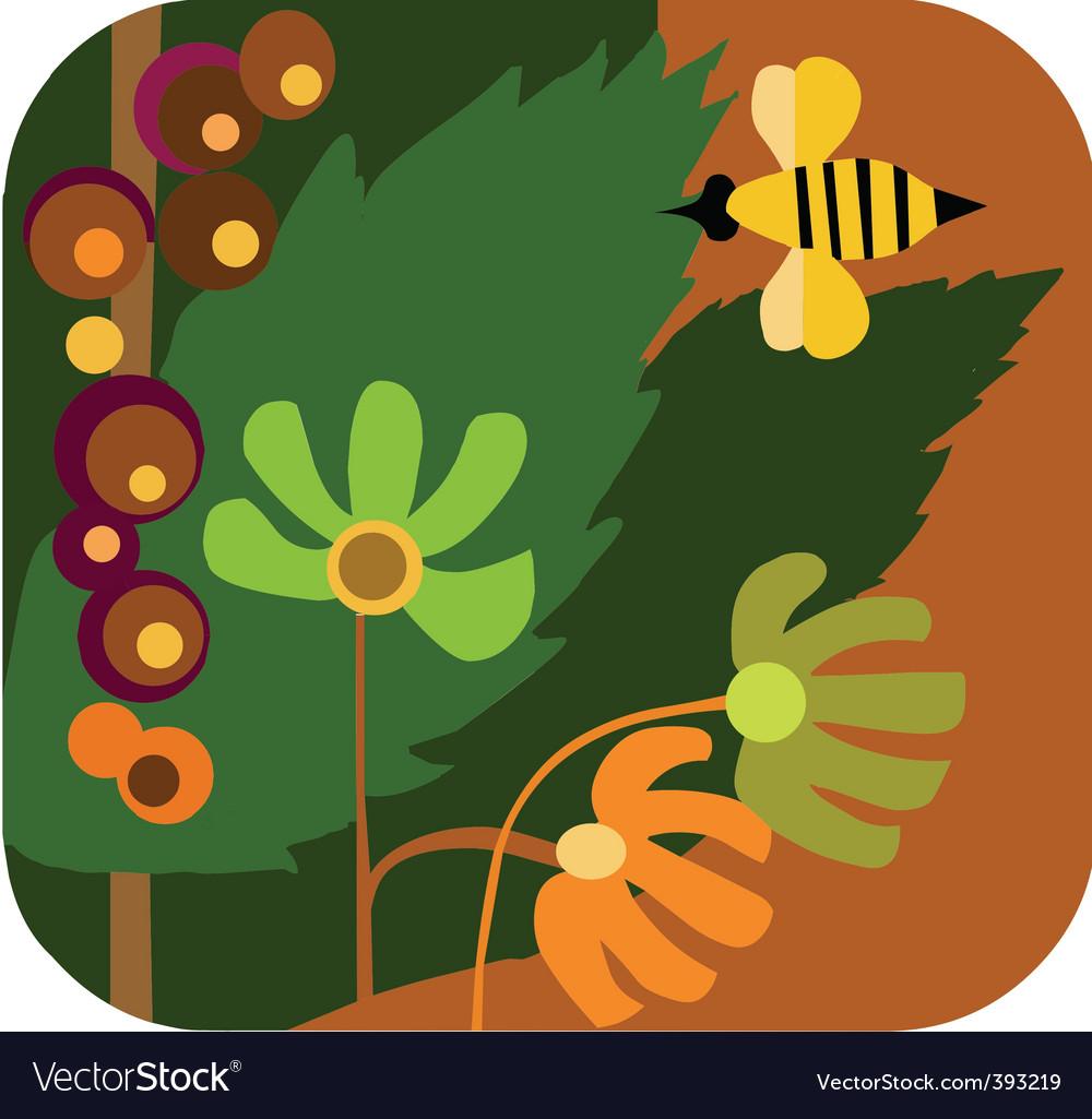 Bees in garden vector