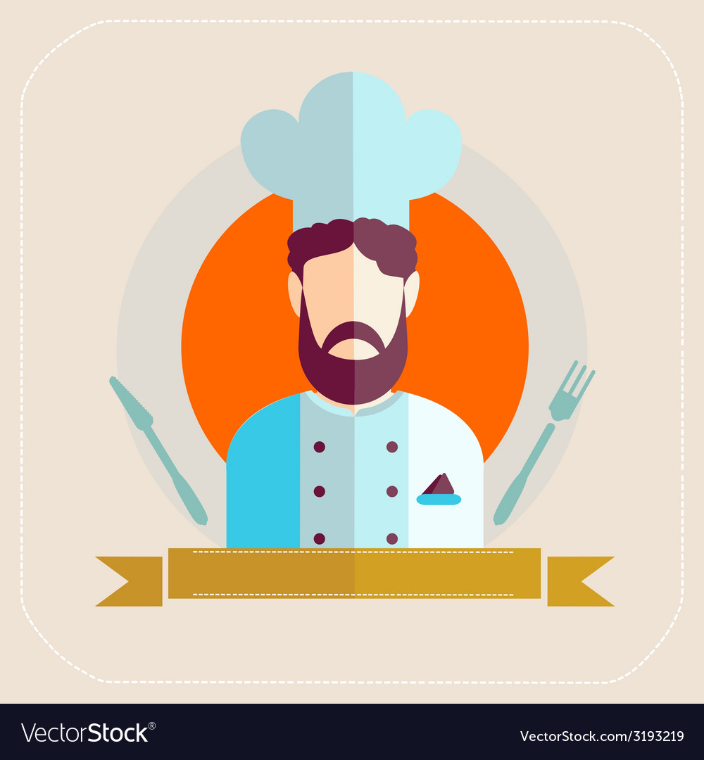 Chef icon flat vector
