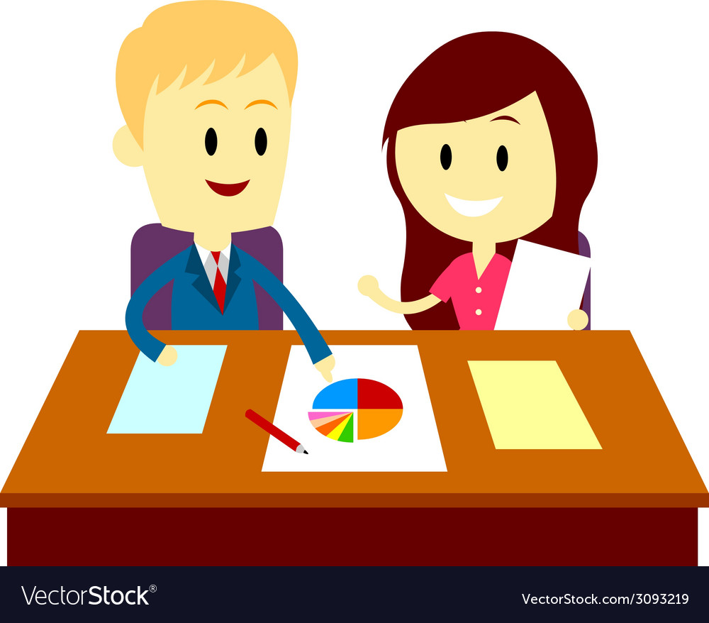 People analyzing business chart vector