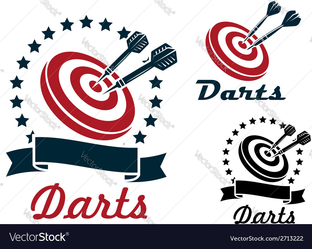 Darts sporting symbols and emblems vector
