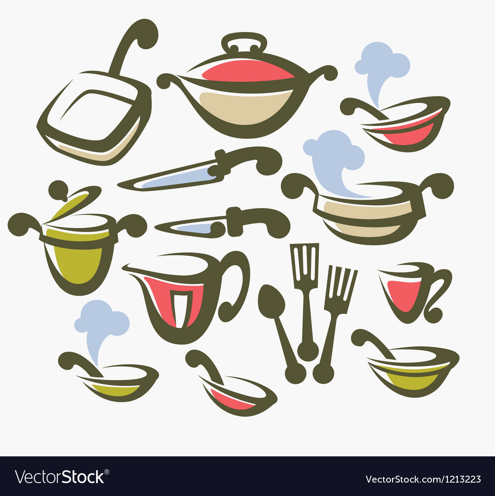 Food cooking and dish collection vector