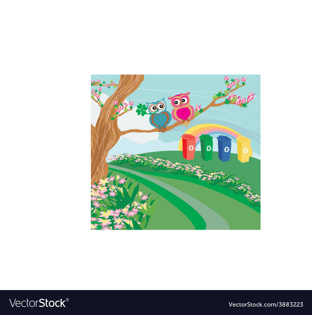 Recycling bins in spring scenery vector