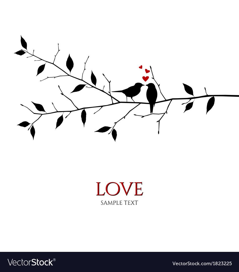 Bird couple on tree branch - love concept vector