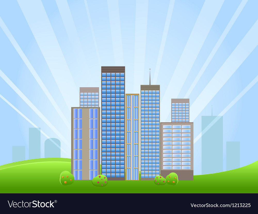 Downtown with skyscrapers on horizon vector