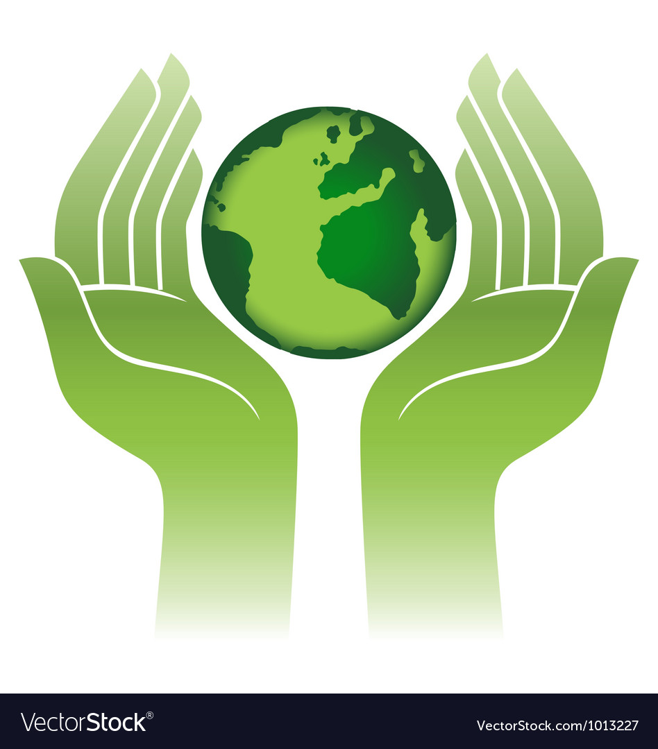 Earth protected by hands abstract sign vector