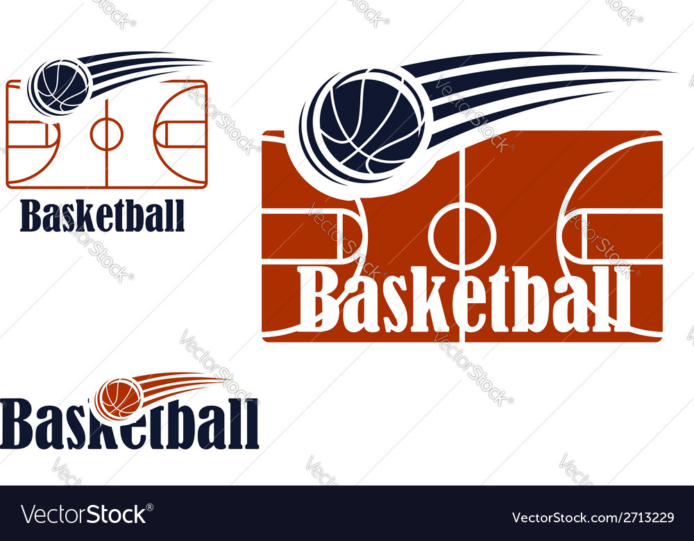 Basketball symbol with field and ball vector
