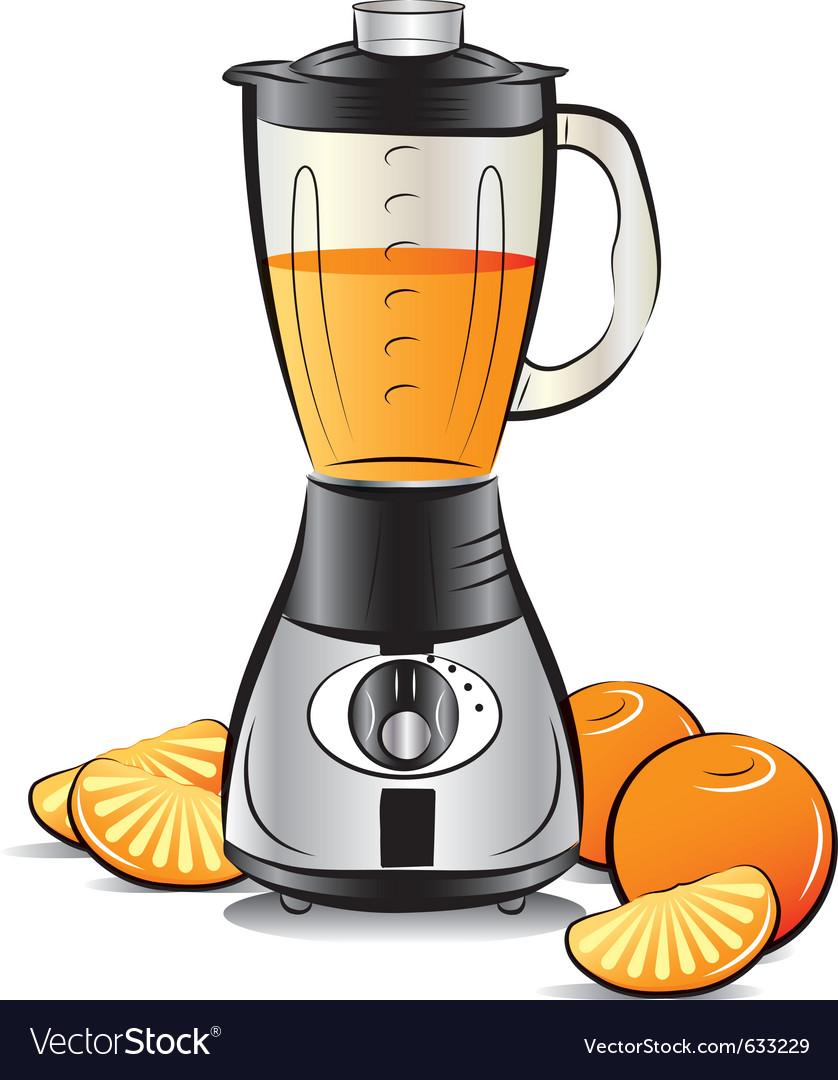 Drawing color kitchen blender with orange juice vector