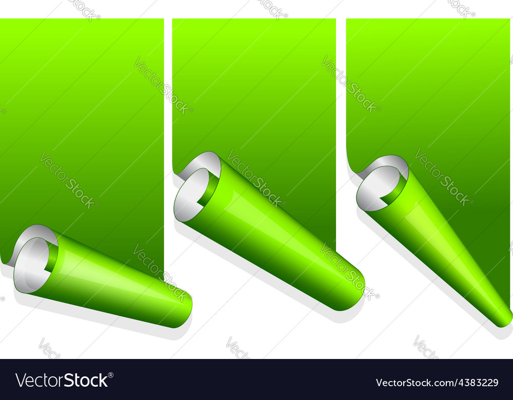 Green sticker with curled up edge vector