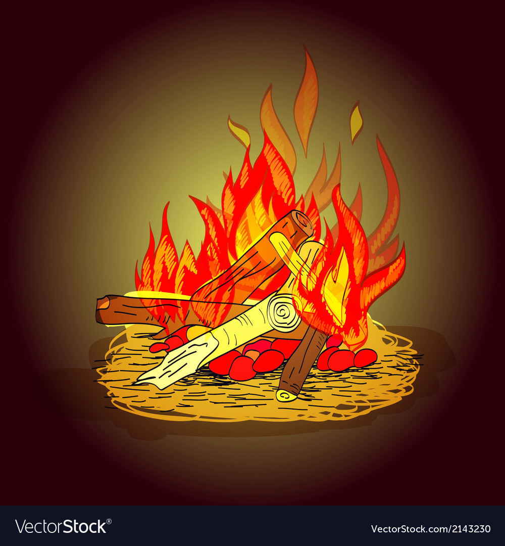 Camp fire sketch vector