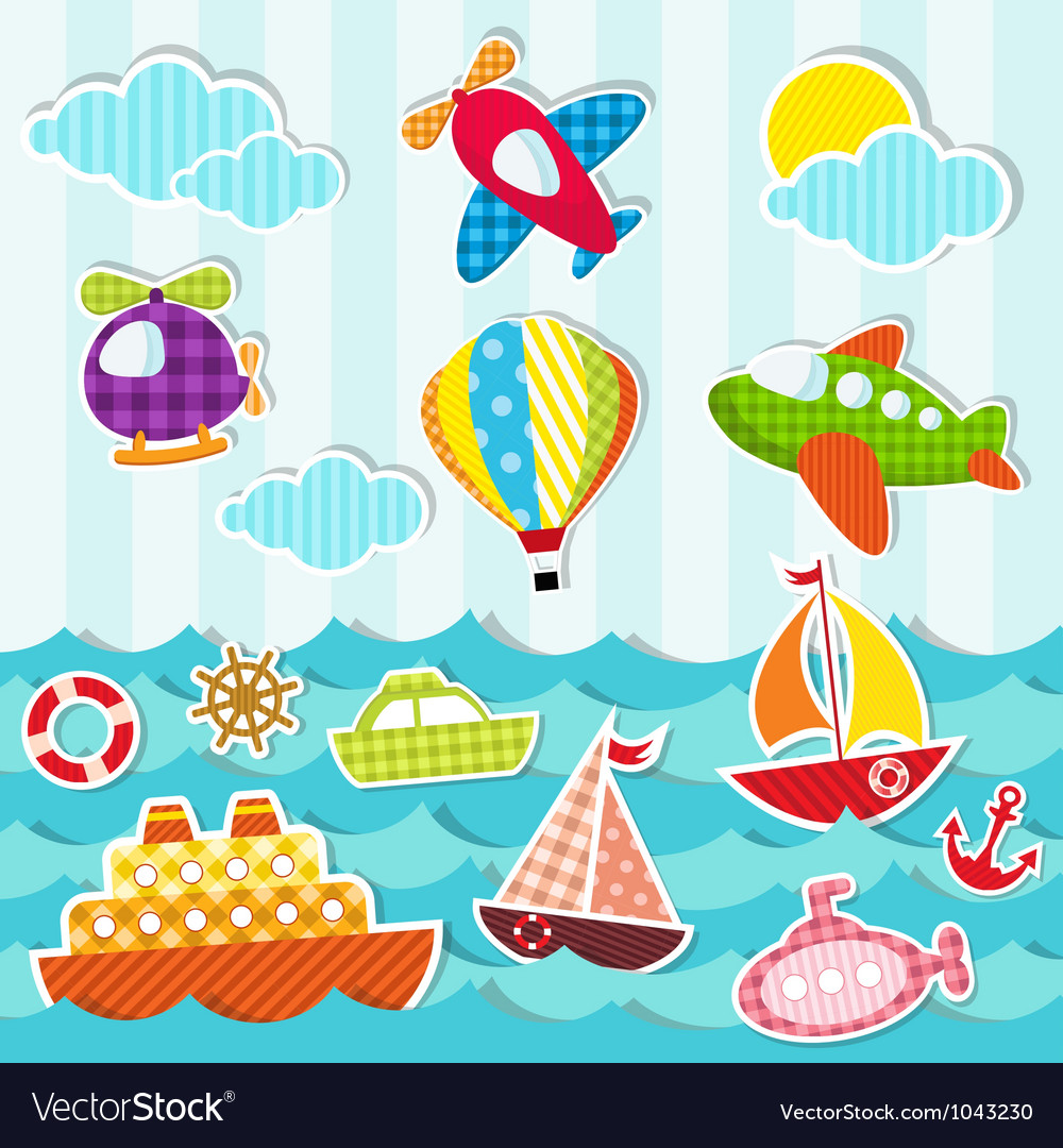 Set of sea and air transport vector