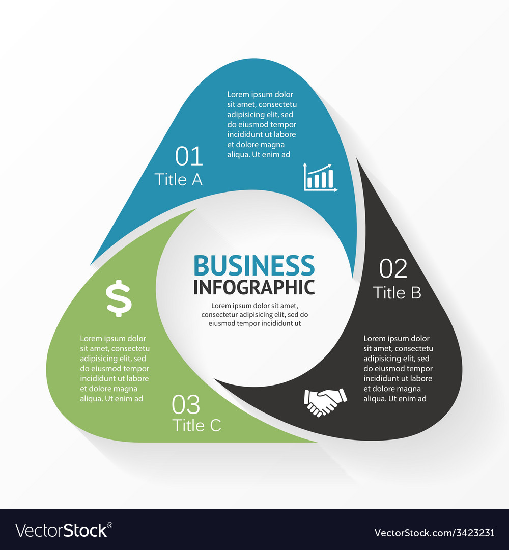 Triangle infographic diagram 3 options parts vector