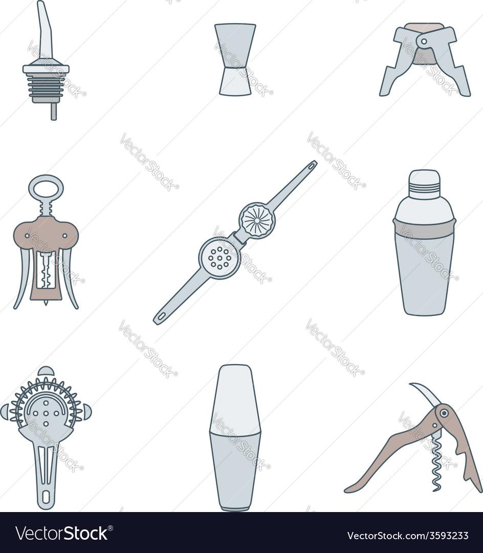 Color outline icons barman instruments set vector
