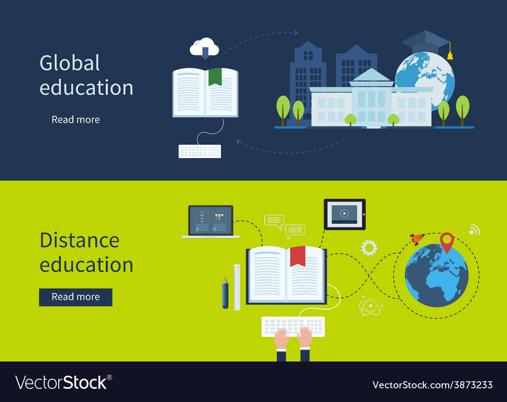 Distance education and e-learning vector