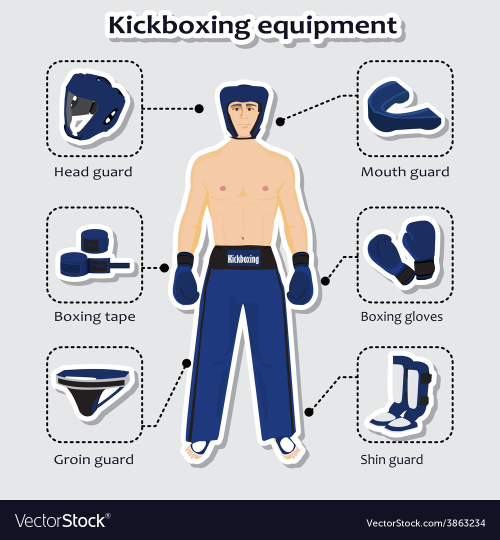 Sport equipment for kickboxing martial arts vector