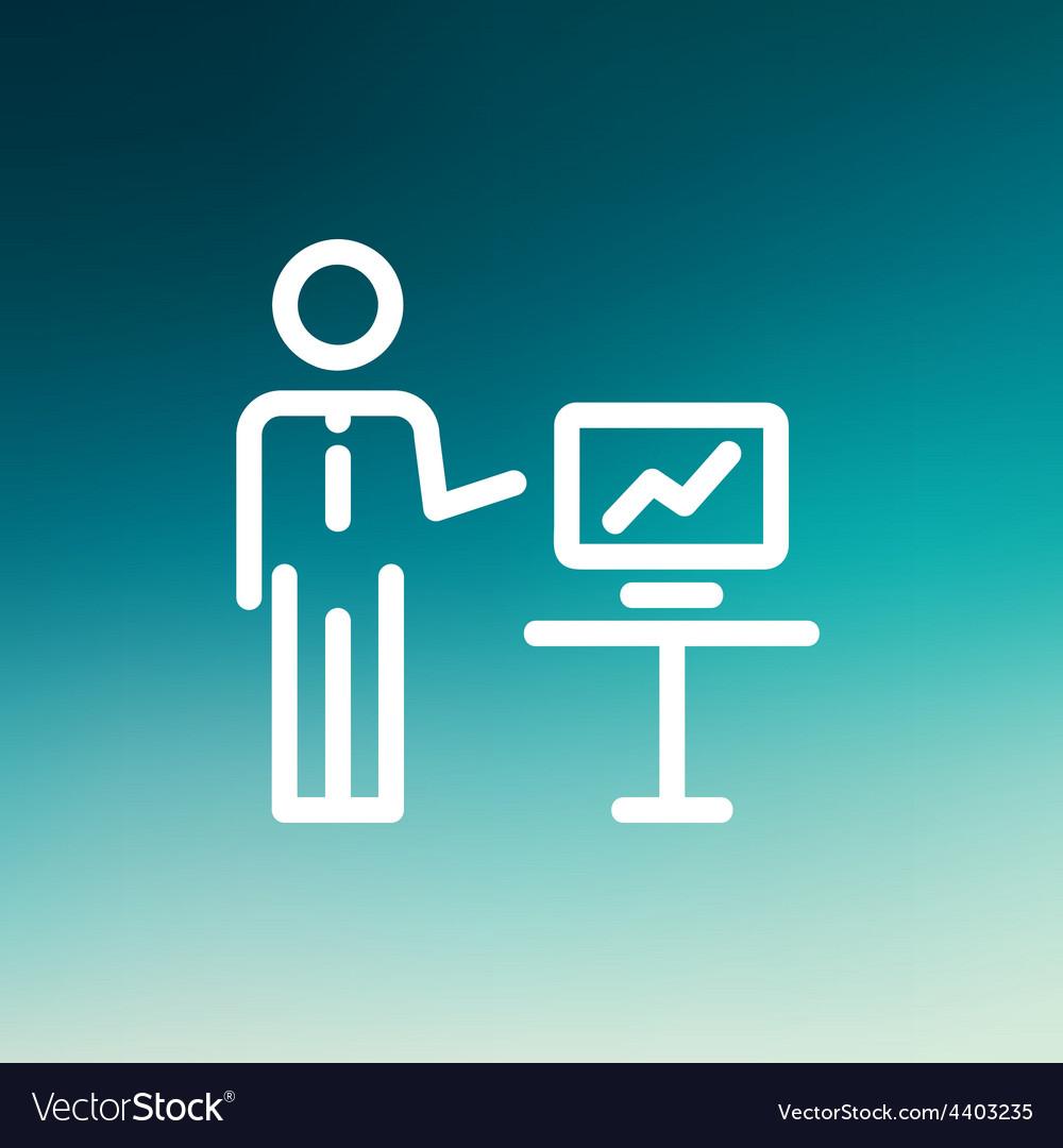 Businessman presentation thin line icon vector