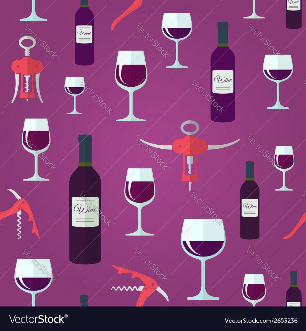Wine seamless pattern vector