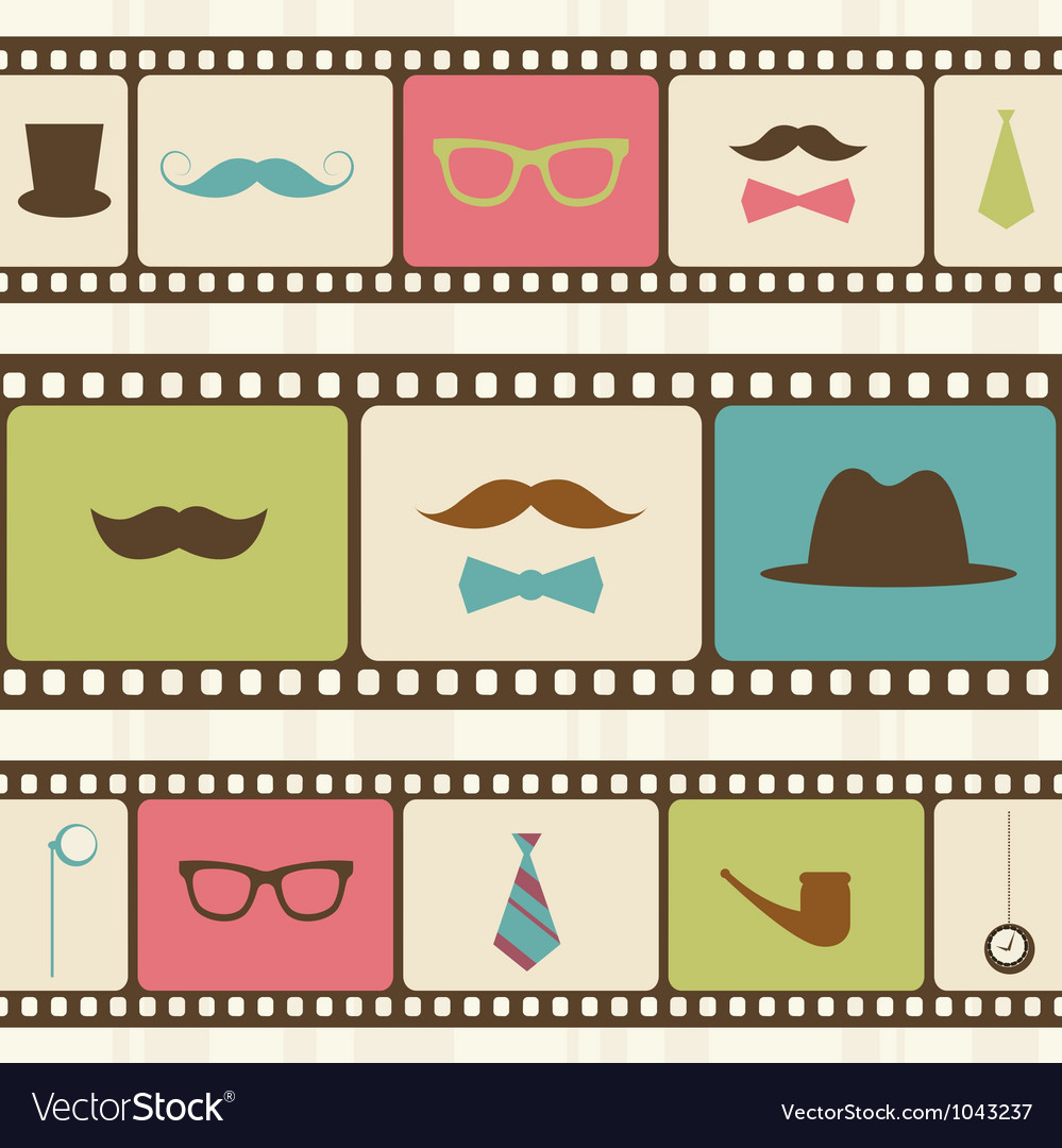 Retro background with film strips mustaches and vector