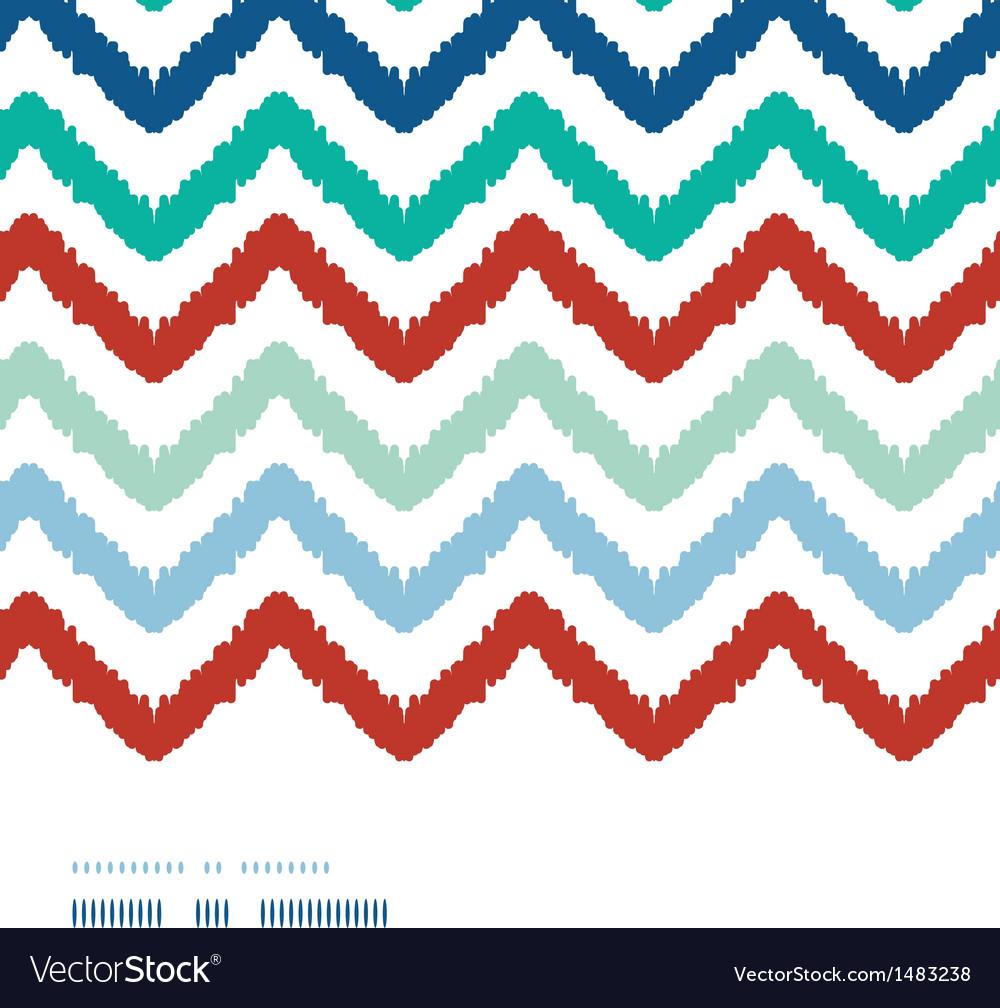 Colorful ikat chevron frame horizontal seamless vector