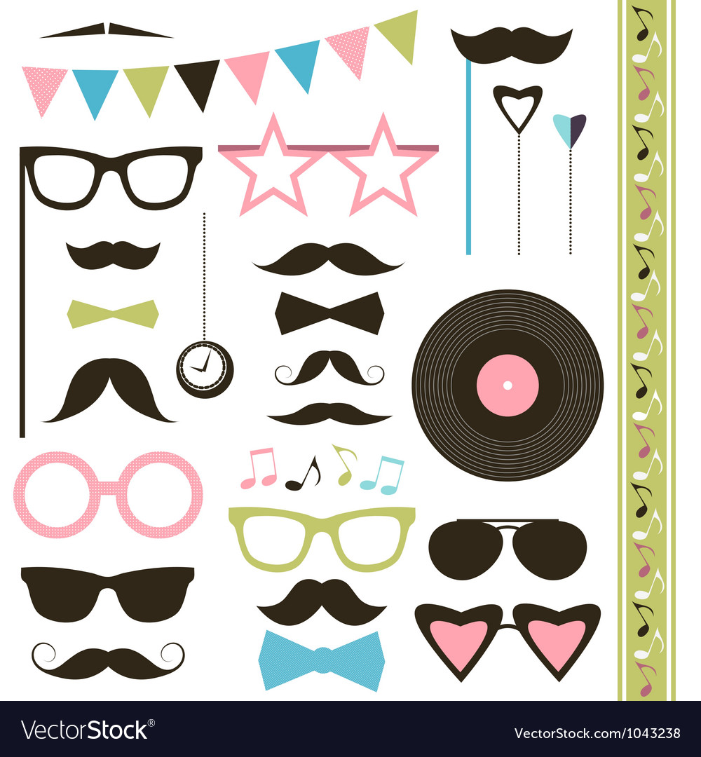Set of retro disco party elements mustaches and vector