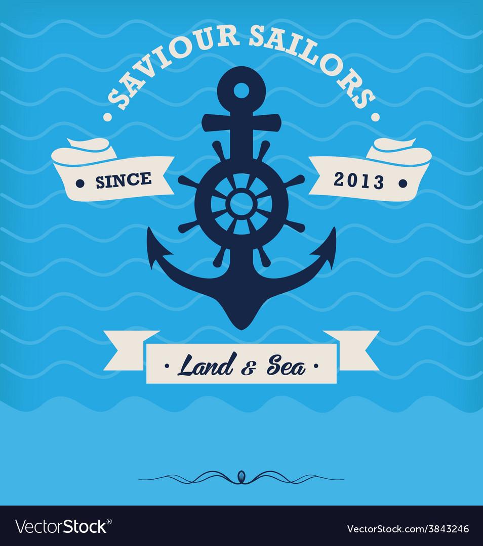 Vintage nautical anchor and ribbon vector