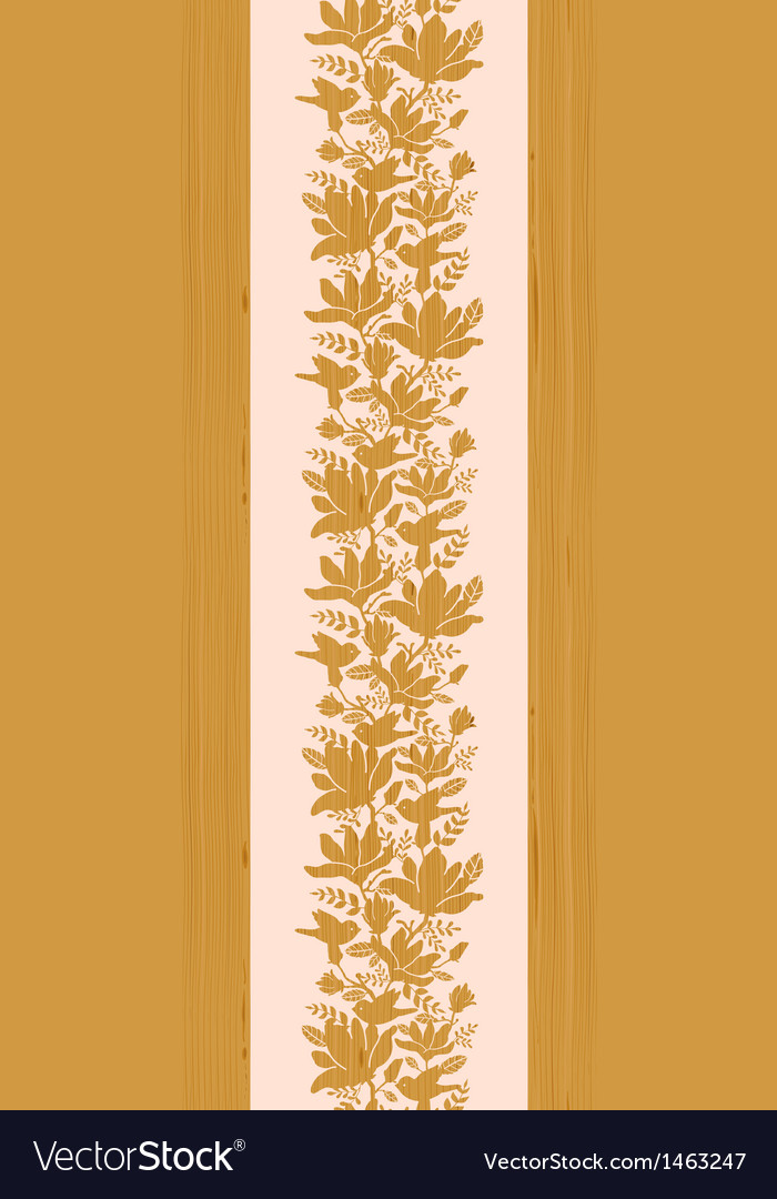 Textured wooden magnolia flowers vertical seamless vector