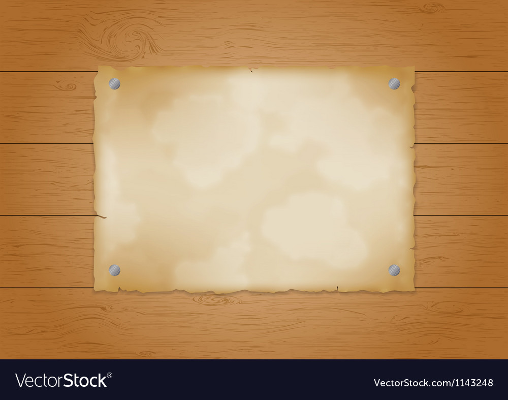 Wood plank background with old paper vector