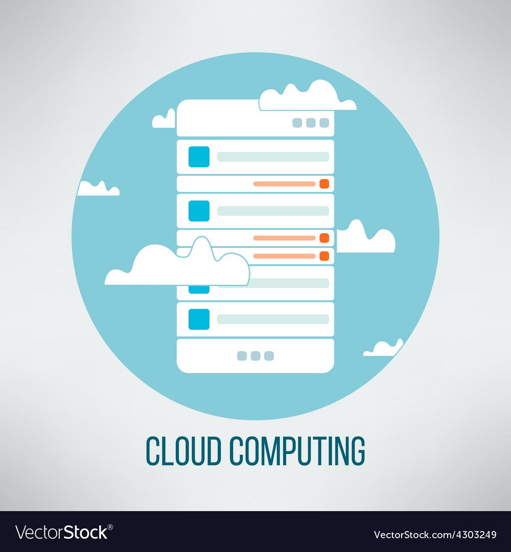 Cloud computing concept suitable for business vector