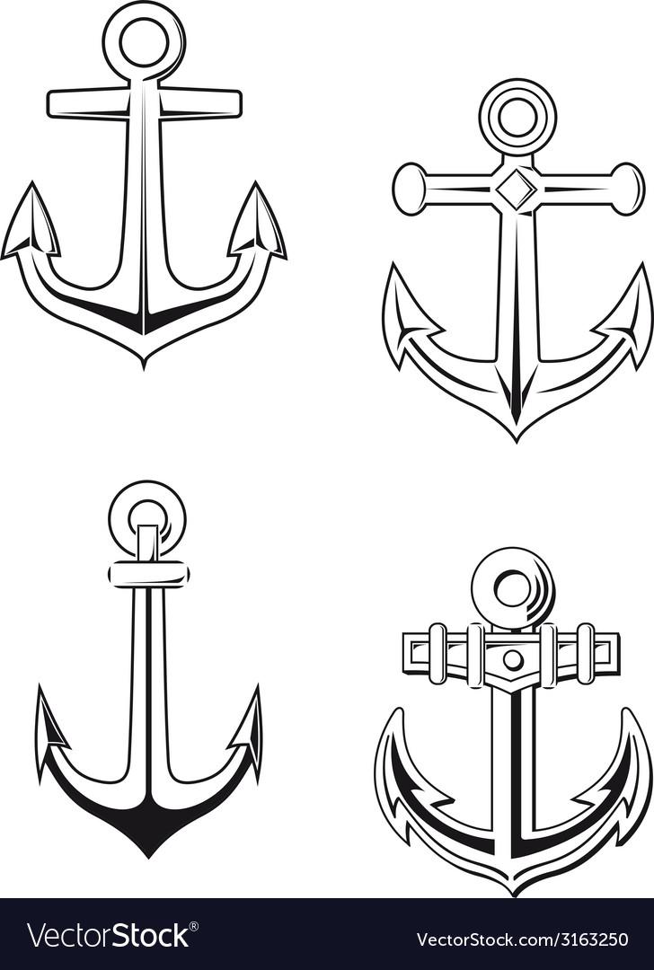 Ship anchors set vector