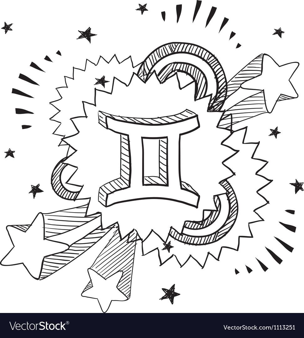 Doodle pop astrology gemini vector