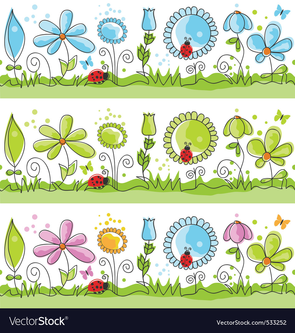 Floral decorative lines vector