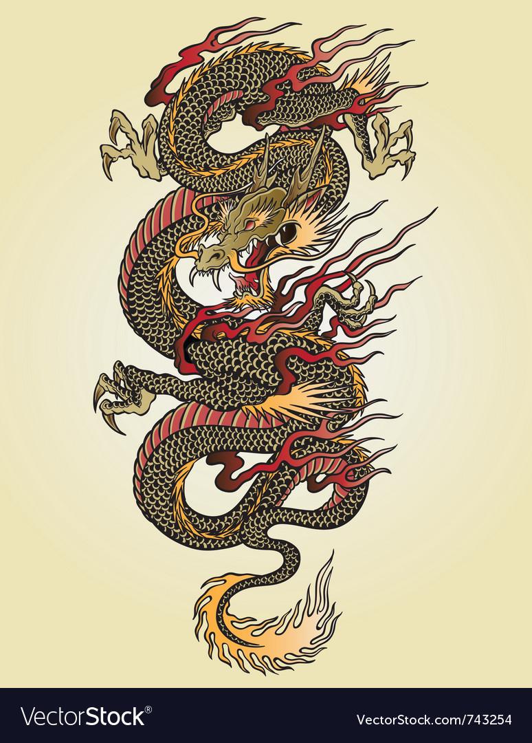 Full color asian dragon tattoo vector