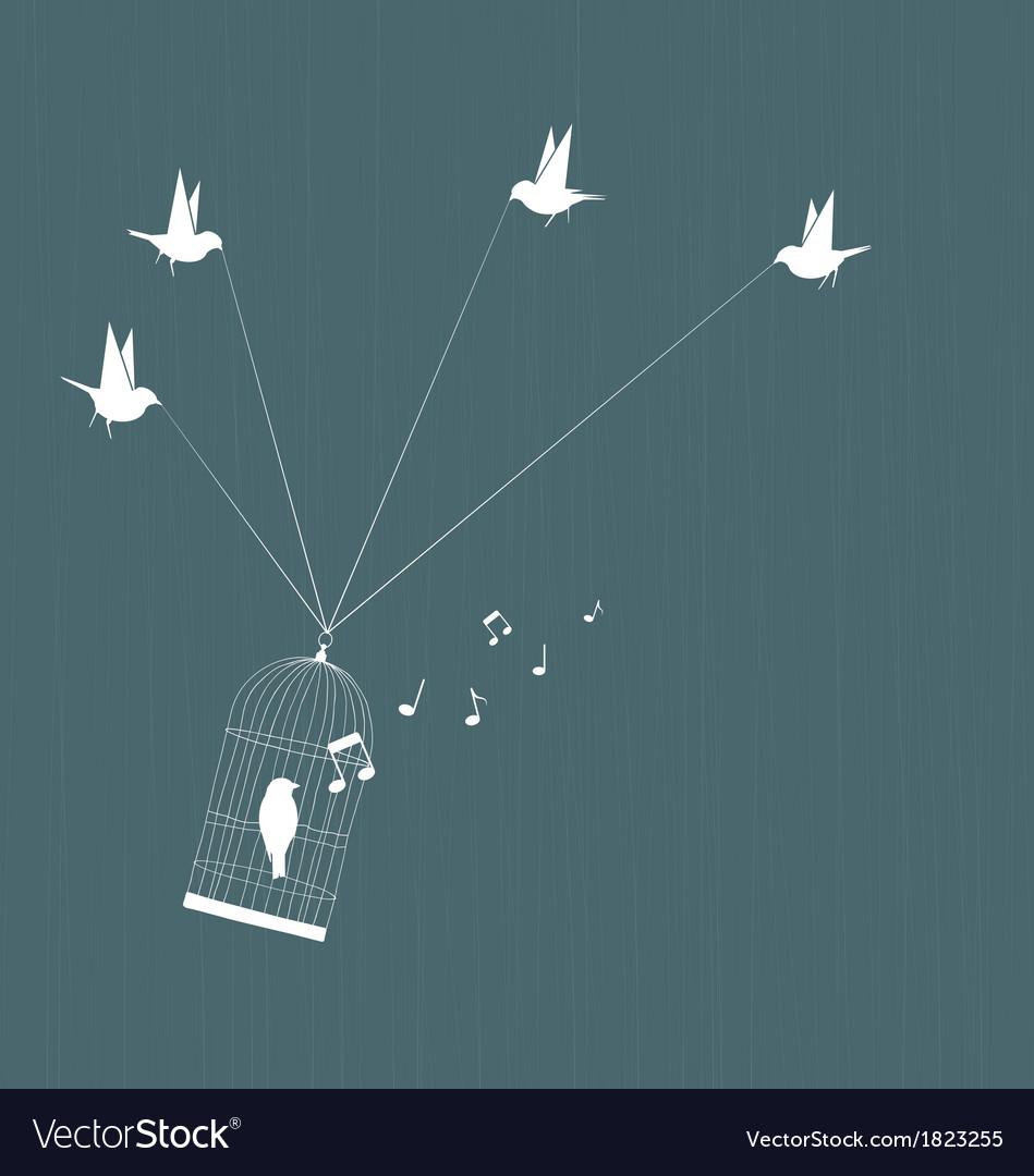 Bird rescue - teamwork and success vector