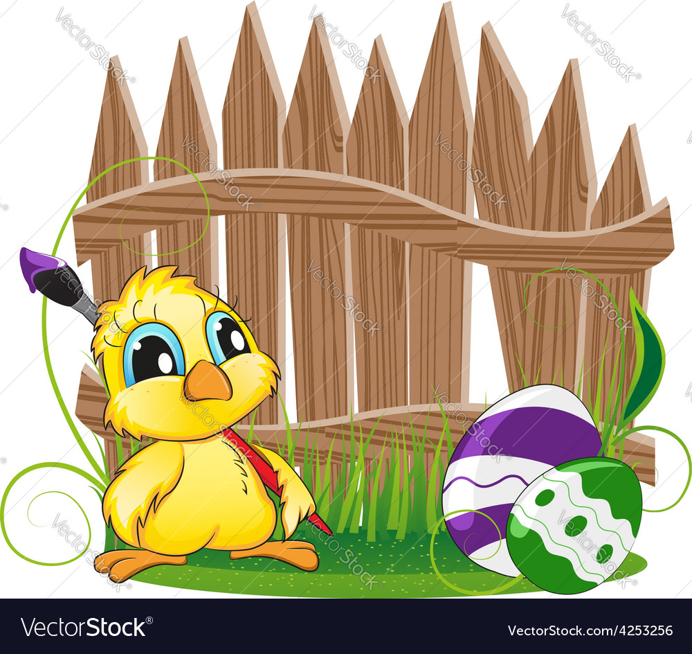 Cartoon chicken with paintbrush vector