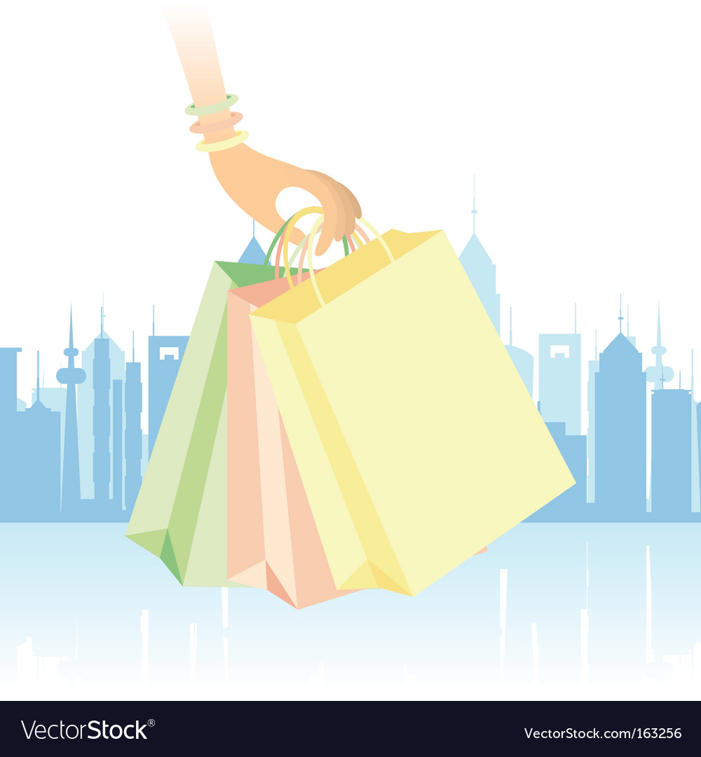 Downtown shopping vector