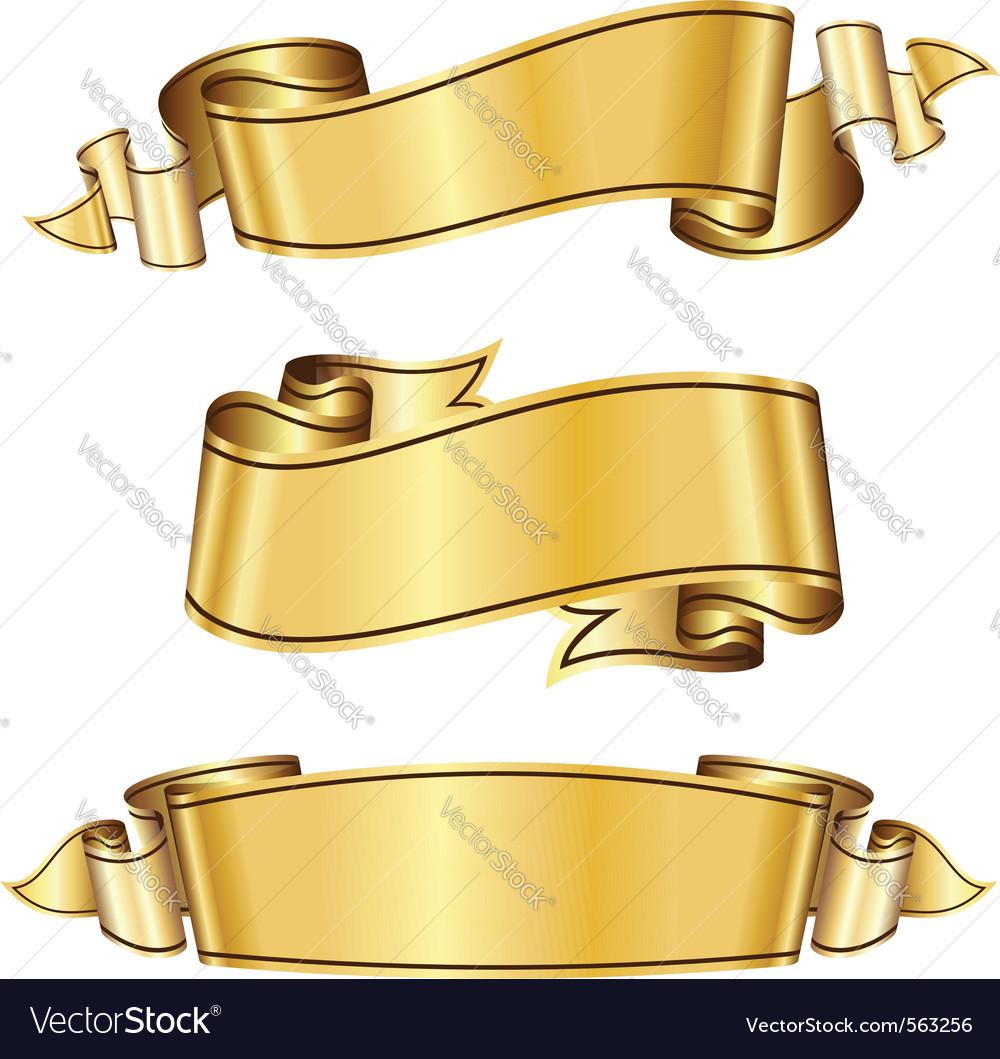 Gold ribbon vector