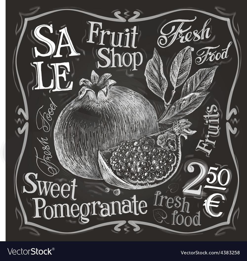 Pomegranate logo design template fresh vector