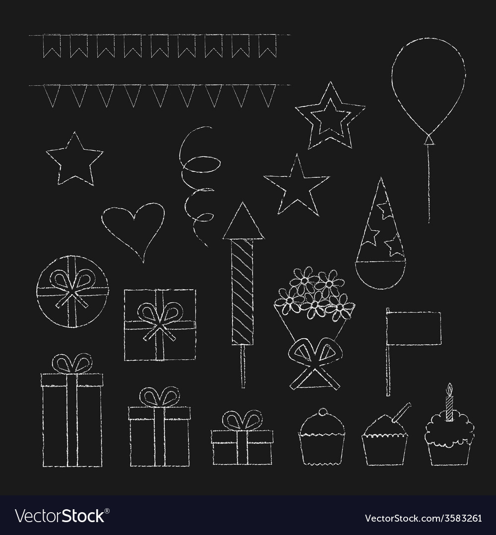 Chalk birthday party icons set vector