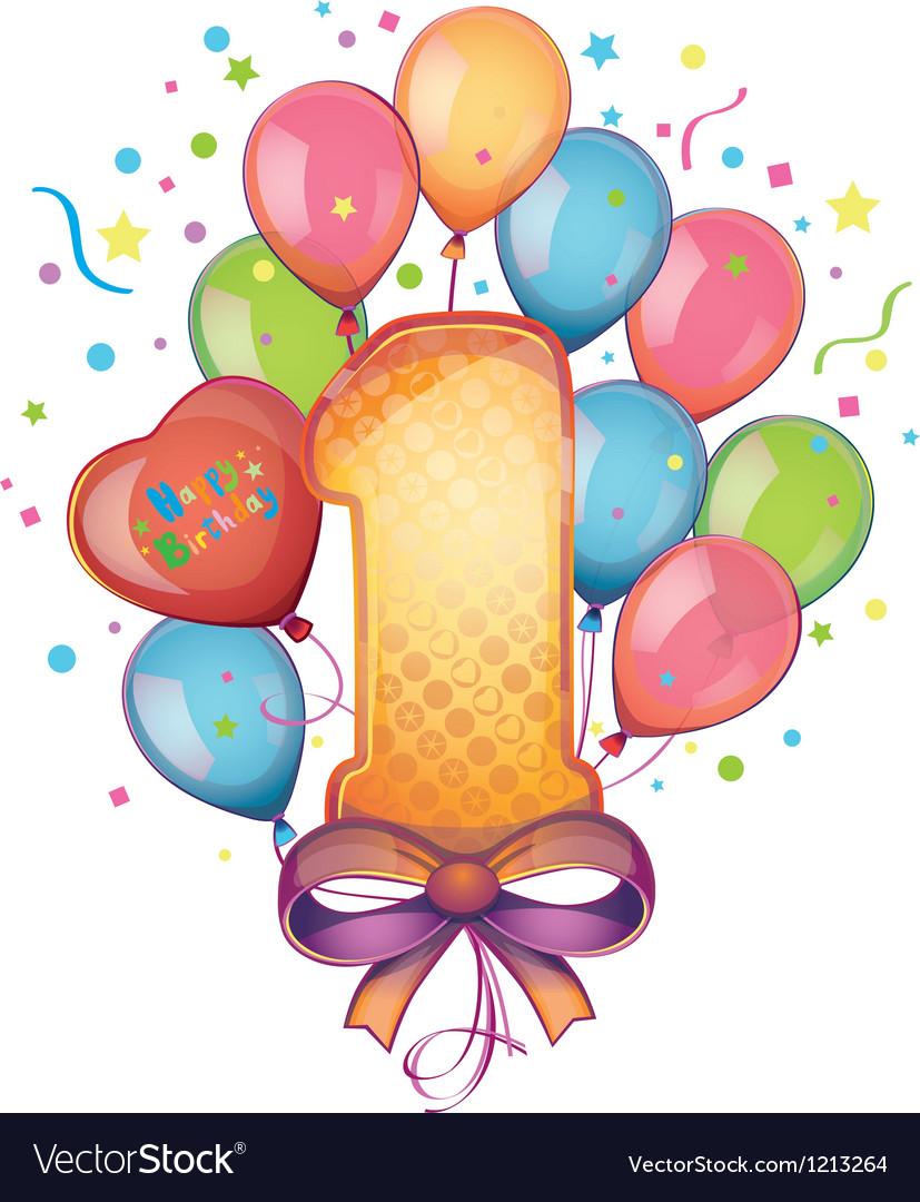 Happy birthday one vector
