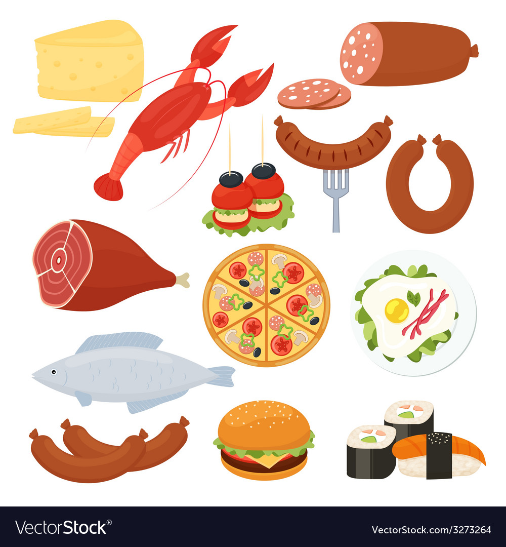 Traditional food icons for a menu vector